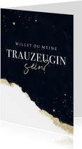 Karte 'Willst du meine Trauzeugin sein' Aquarell schwarzgold