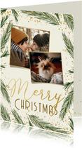 Karte zu Weihnachten mit Fotos und Tannenzweigen
