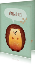 Karte zur guten Besserung mit Igel 'Warm hugs'