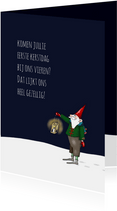 Kerskaart - kerstmannetje met lantaarn