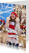 Kerst banner en sparretakken fotokaart