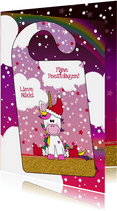 Kerst DIY vrolijke kerstkaart met unicorn deurhanger