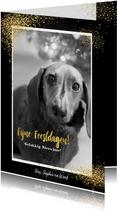 Kerst feestelijke kaart met foto en vele gouden sterretjes