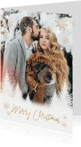 Kerst fotokaart boompjes, sneeuwvlokken en 'Merry Christmas'