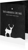 Kerst - Hert in sneeuw krijtbord