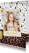 Kerst hippe kaart met panterprint en eigen foto
