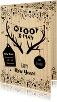 Kerst hippe verhuiskaart hout, rendier gewei en sterren