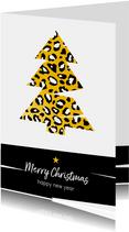 Kerst - Kerstboom met goud en luipaard print