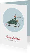 Kerst - Kerstboom op slee in cirkel