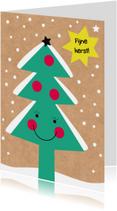 Kerstkaarten - Kerst-Kind-Lachende Kerstboom-HK