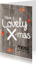 Kerst menukaart  lovely hout