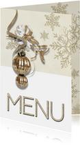 Kerst menukaart trendy chique kerstbal
