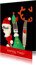 Kerst menukaart vrolijk aangekleed bestek