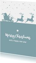 Kerst - Silhouet kerstman, slee en rendieren