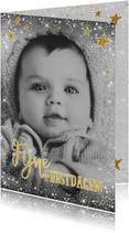 Kerstkaarten - Kerst stijlvolle kaart met foto en vele sterretjes