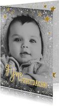 Kerst stijlvolle kaart met foto en vele sterretjes