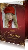 Kerst stijlvolle rode fotokaart sierlijke tekst sterren goud