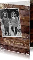 Kerst stoere stijlvolle foto kaart hout en witte sterretjes