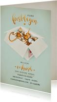 Kerst-verhuisbericht Verhuisdoos met kerstspullen