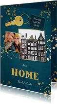Kerst-verhuiskaart 2 foto's sleutel met label new home