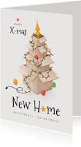 Kerst verhuiskaart dozen lampjes kerstboom sterren