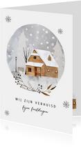 Kerst-verhuiskaart huis in de sneeuw