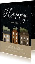 Kerst-verhuiskaart huisjes met kerstbomen en sneeuw