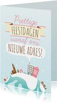 Kerst Verhuiskaart Illustratie Huisjes