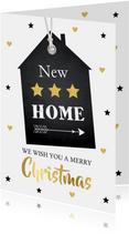 Kerst verhuiskaart labelprint goudlook