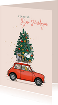Kerst verhuiskaart mini rood met kerstboom