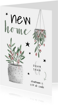 Kerst verhuiskaart new home met planten en sterren