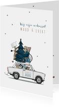 Kerst verhuiskaart Trabant wit met blauwe kerstboom