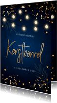Kerstborrel uitnodiging donkerblauw confetti lampjes
