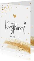 Kerstborrel uitnodiging met goudlook confetti