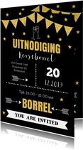 Kerstborrel uitnodiging typografie goud sterren