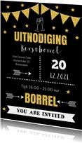 Kerstborrel uitnodiging typografie goudlook