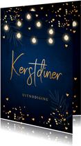 Kerstdiner uitnodiging blauw confetti goudlook