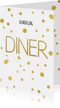 Kerstdiner uitnodiging diner en confetti goud