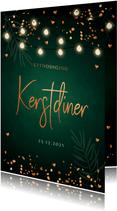 Kerstdiner uitnodiging donkergroen confetti lampjes