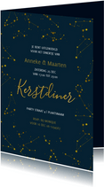 Kerstdiner uitnodiging Goud Sterren nacht