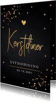 Kerstdiner uitnodiging goudlook confetti