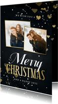 Kerstkaart 2 fotos merry christmas met hartjes