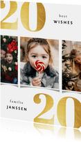 Kerstkaart 2020 best wishes goudlook met 3 foto's