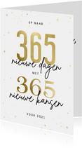 Kerstkaart 365 nieuwe dagen met 365 nieuwe kansen