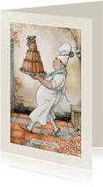 Kerstkaart - Anton Pieck illustratie bakker met taart