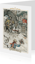 Kerstkaart - Anton Pieck illustratie postkoets
