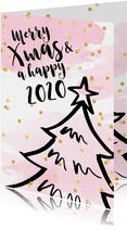 Kerstkaart aquarel confetti kerstboom