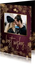 Kerstkaart best wishes bordeaux met gouden kader