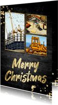 Kerstkaart beton 'merry christmas' fotocollage