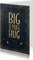 Kerstkaart BIG X-MAS HUG goud krijtbord